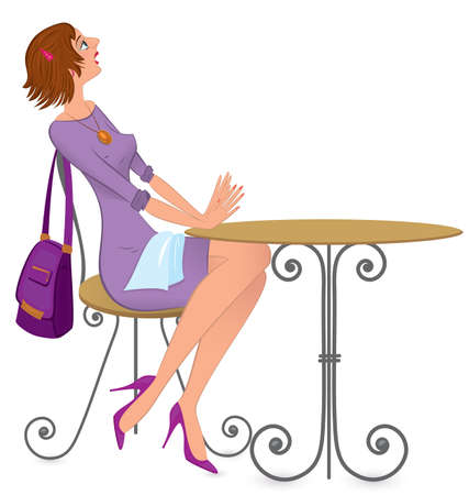 cut short:  illustration of a young woman sitting with napkin across her lap