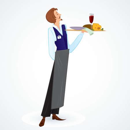 음식을 쟁반을 들고 젊은 슬림 웨이터의 그림 일러스트