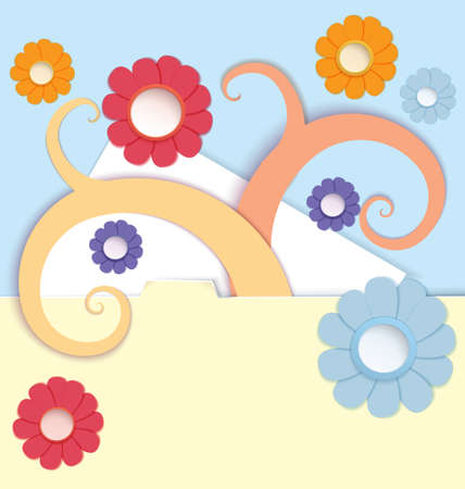 crafted: Vector illustration paper crafted daisy flowers and spirals decorating paper folder