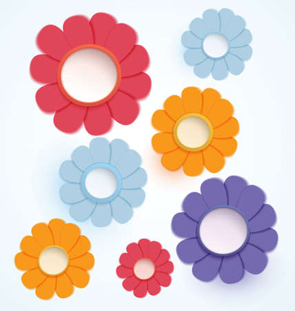 illustration paper crafted colorful daisy flowers Reklamní fotografie - 15687544