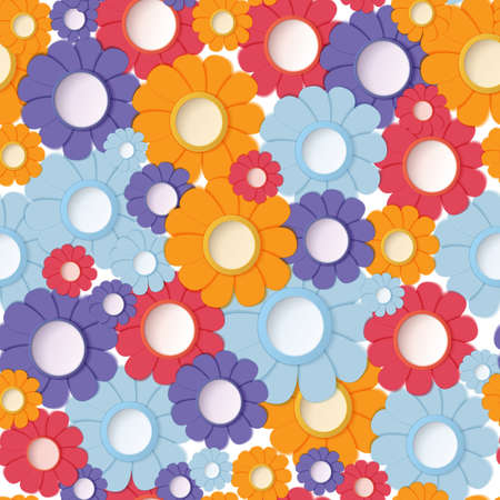 illustration of paper crafted flowers seamless backgrounds Stock fotó - 15687547
