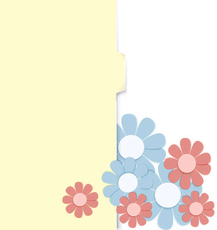 crafted: illustration yellow folder with paper crafted flowers isolated on white   Illustration