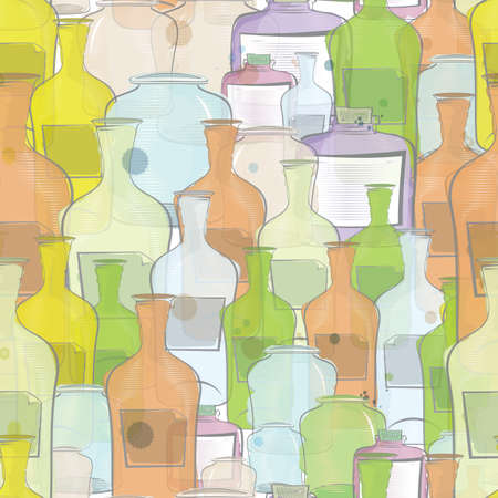 Water color bottles seamless background       イラスト・ベクター素材