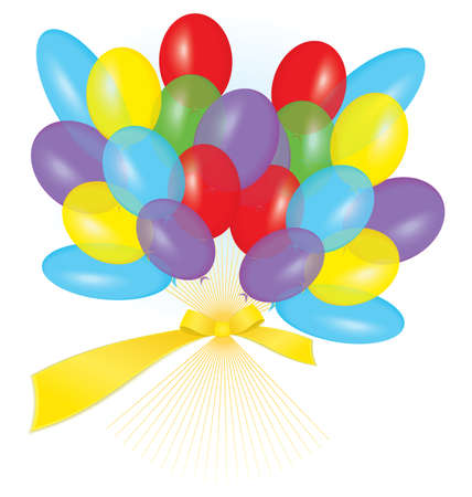Vector illustration of many colorful balloons tied with ribbon as a bouquet  Vector