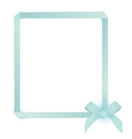 Vector illustration blue ribbon bow tied as a frame on isolated on white
