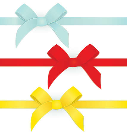 Vector illustration ribbon tied bows in red blue and yellow color on white  Ilustração