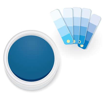 Vector illustratie van kleurstalen en open verf pot geïsoleerd op wit