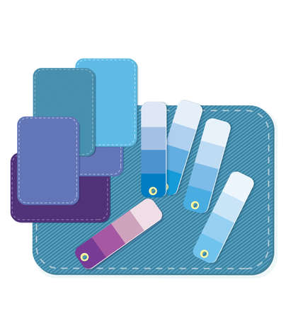 matching: Vector illustration of many colorful fabric swatches with matching color swatches