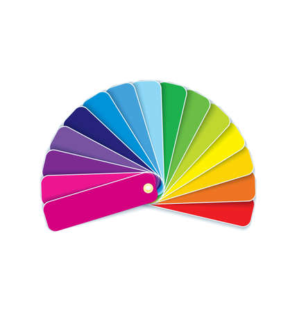 Vector illustration of many colorful paint swatches in rainbow circle