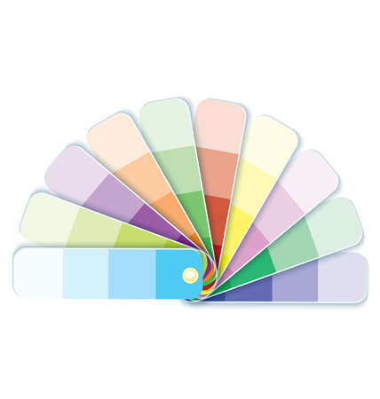 Vector illustration of colorful paint swatches with tint gradation  Иллюстрация