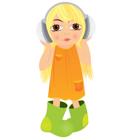 illustration of a cute cartoon girl listening to music with headphones   Stock Vector - 16197273