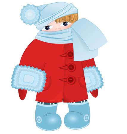 illustratie van een cartoon jongen staande in rode winter jas mier blauwe sjaal