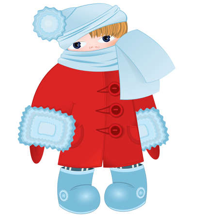 illustration of a cartoon kid standing in red winter coat ant blue scarf  Vector