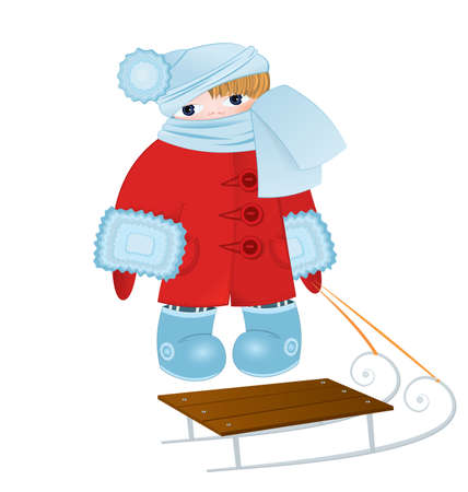illustration of a cartoon kid standing in red winter coat with sled Stock Vector - 16197286