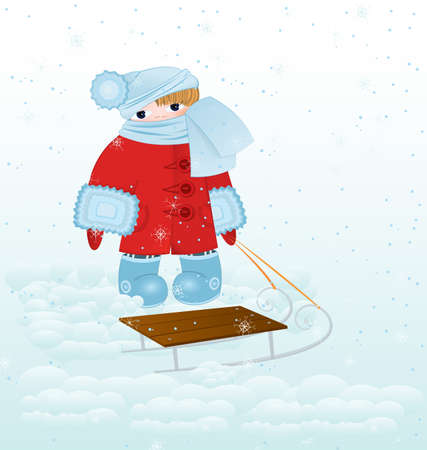 illustration of a cartoon kid standing in red winter coat with sled and snowfall