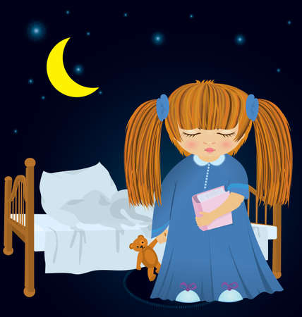 illustration of cartoon girl in night robe with book near bed in the night Stock Vector - 16197322