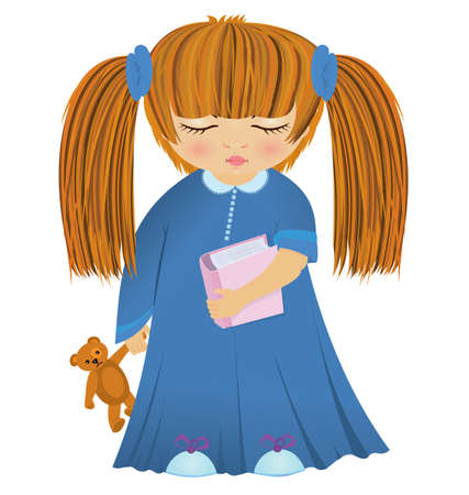 illustration of cartoon girl in night robe with book and bear toy