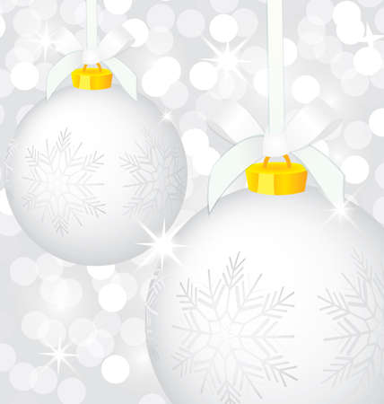illustration of silver Christmas decoration balls on sparkling background