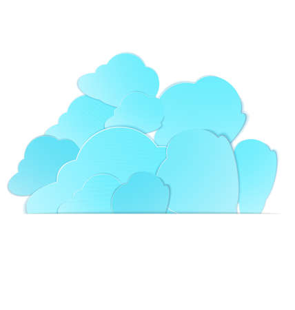 illustration of paper crafted clouds stack in to paper pocket