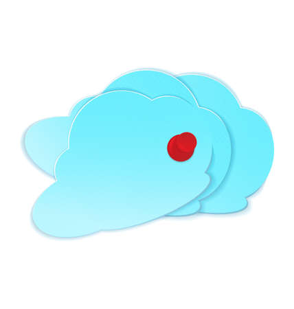 crafted:  illustration of three paper crafted clouds pined with red pushpin
