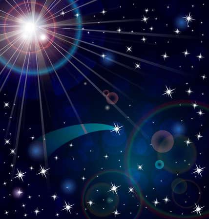 illustratie van abstracte achtergrond met lichte stralen en sterren ob donkerblauw Stock Illustratie
