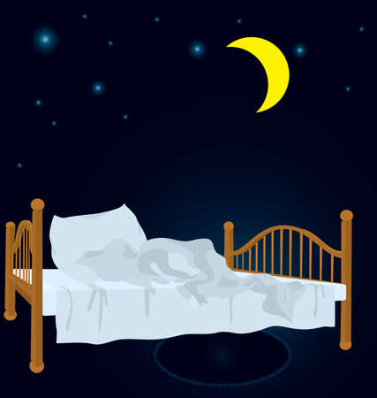 illustration of unmade bed in the night under stars and new moon