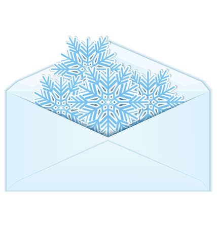 illustration of snowflakes in envelope isolated on white  Ilustração