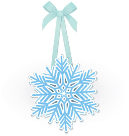 illustration of snowflakes on blue ribbon with bow isolated on white  Ilustrace