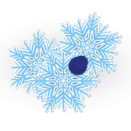 illustration of snowflakes pined with blue push pin isolated on white