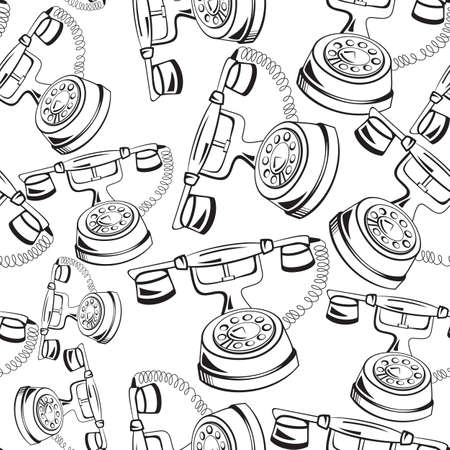 old phone: Vector illustration of old fashion black and white contour telephone seamless background
