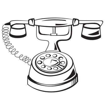 Vector illustration of old fashion black and white contour telephone isolated