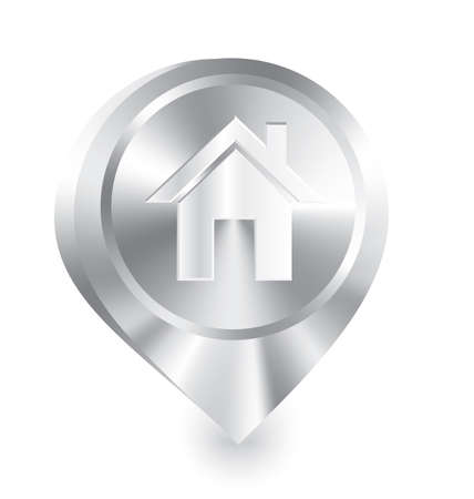 Vector illustration of 3d glossy metal icon drop pin with home symbol     Çizim