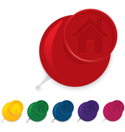 push pin icon: Vector illustration of 3d glossy push pin icon with home symbol    Illustration