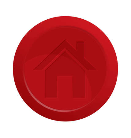 Vector illustration of red 3d glossy button with home symbol    Vector