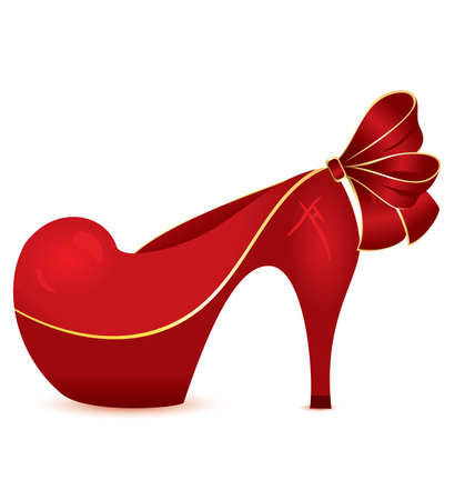 Vector illustration of cartoon red high heel evening shoe isolated on white