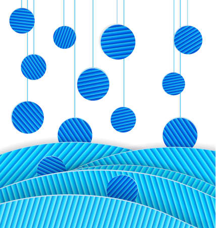 Vector illustration of abstract paper crafted background with blue dots