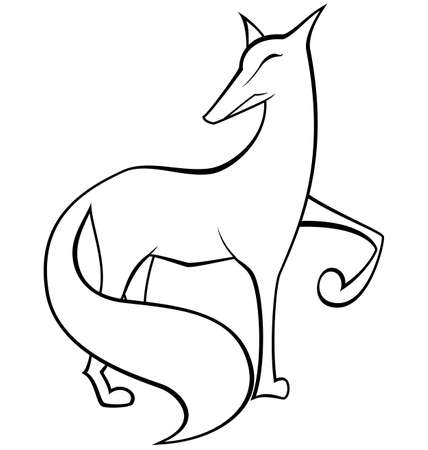 Vector illustration of black and white contour fox isolated on white  Vector