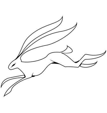 Vector illustration of black and white contour hare jumping isolated on white