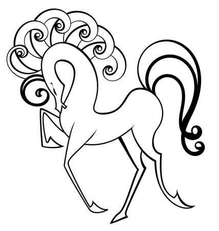 Vector illustratie van zwarte en witte contour paard met staart swirl geïsoleerd op wit