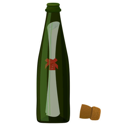 rolled paper: Vector illustration of green bottle with rolled paper massage inside  Illustration