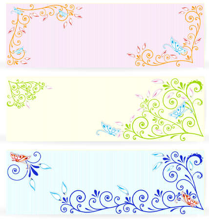 Vector illustration of blue butterflies cut out of paper over floral spiral textured banners
