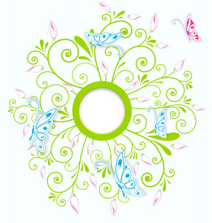 Vector illustration of blue butterflies cut out of paper over floral spirals round border