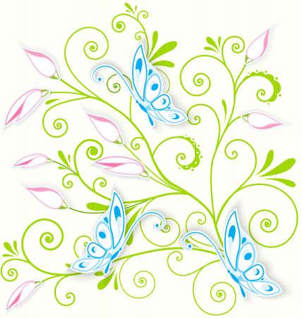 블루 나비의 벡터 일러스트 레이 션의 꽃 나선형 질감 배경 위에 종이 잘라 일러스트