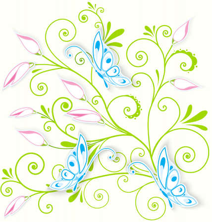 Vector illustration of blue butterflies cut out of paper over floral spiral textured background