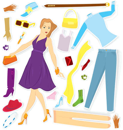 Vector illustration of girl and clothes stickers cut out of paper with realistic shadow Stock Vector - 16901130