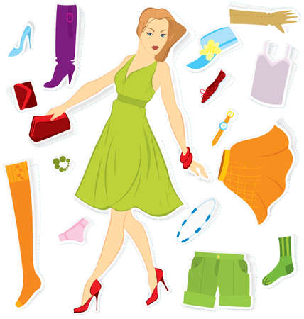 Vector illustration of girl and clothes stickers cut out of paper with realistic shadow  Vector