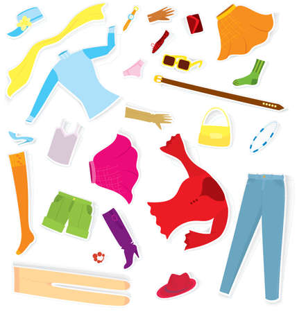 Vector illustration of girl clothes stickers cut out of paper with realistic shadow Stock Vector - 16901137