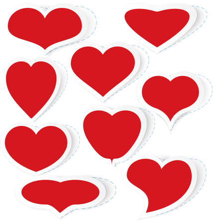 Vector illustration of red cut out of paper stickers different shapes of heart