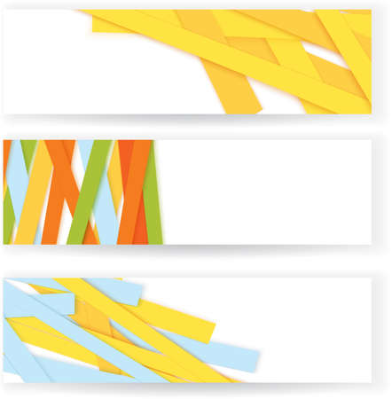 Vector illustration of abstract colorful paper stripe banners with copy space