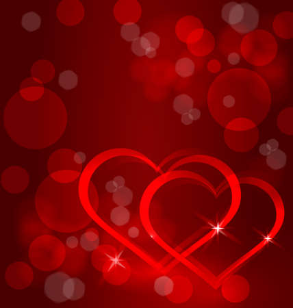 Vector illustration of sparkling hearts and bokeh light effect on red background